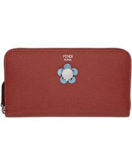 Red Flowerland Zip Around Wallet