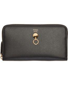 Black Conical Stud Zip Around Wallet