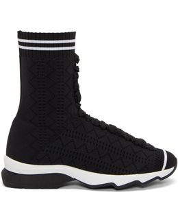 Black Stretch Sock High-top Sneakers