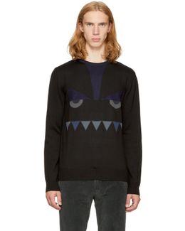 Black 'bag Bugs' Crewneck Sweater