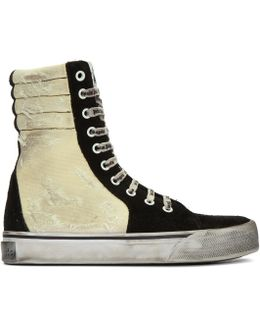 Black & Off-white Distressed Suede Super High-top Sneakers