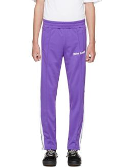 Purple & White Logo Track Pants