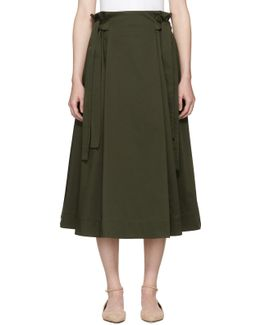 Green Knotted Pull-on Skirt