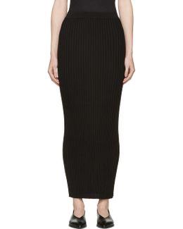 Black Ribbed Long Skirt