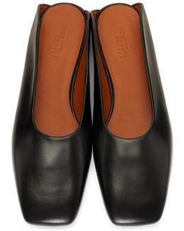 Black Leather Loafer Slides