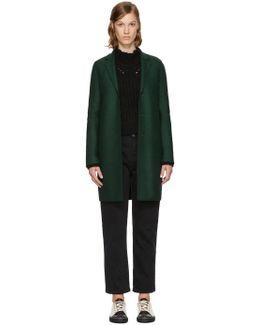 Green Wool Cocoon Coat