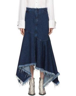 Indigo Denim Asymmetric Skirt
