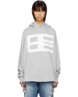 Grey Long Logo Hoodie