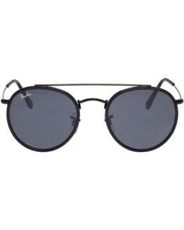 Black Round Double Bridge Sunglasses