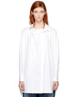 White O-front Drape Shirt