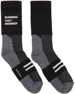 Black & Grey Patchwork Tube Socks
