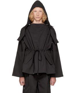 Black Workwear Slash Neck Jacket