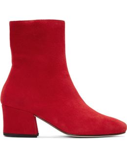 Red Suede Sybil Leek Boots