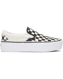 Black & Off-white Checkerboard Classic Platform Slip-on Sneakers