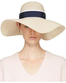 Beige & Navy Straw Blanche Hat
