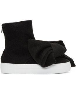 Black Felt Bow Sneakers