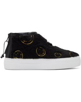 Black Fuzzy Smile High-top Sneakers