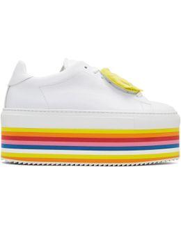 White Smile Rainbow Platform Sneakers