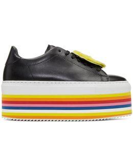 Black Smile Rainbow Platform Sneakers