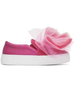 Pink Tulle Slip-on Sneakers