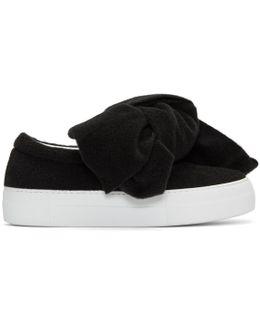 Black Felt Bow Platform Slip-on Sneakers