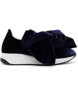 Navy Velvet Bow Slip-on Sneakers