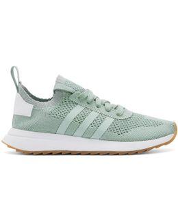 Green & White Flashback Primeknit Sneakers