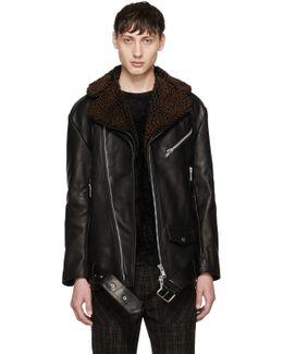 Black Oversized Leather Alec Jacket