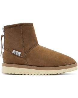 Brown Suede Shearling Boots
