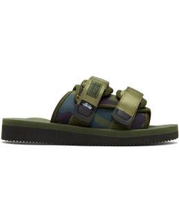 Green Stussy Edition Moto Sandals