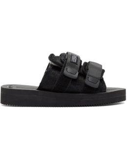 Black Calf Hair Moto-vhl Sandals