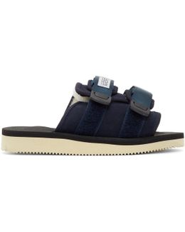 Navy Suede & Shearling Moto-m Sandals