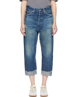 Indigo Selvedge Wide Tapered Cut Jeans