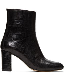 Black Croc-embossed Agnes Boots