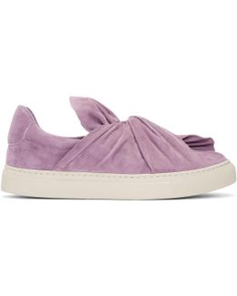 Purple Suede Bow Slip-on Sneakers