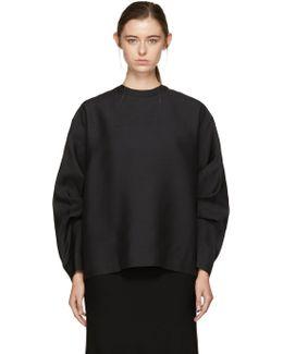 Black Sleeve Pleat Blouse