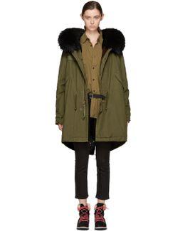 Green & Black Fur-lined Long Parka