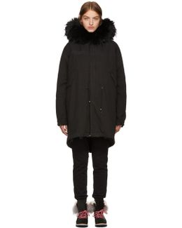 Black Long Fur Parka
