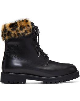 Black Leather & Mink Combat Boots