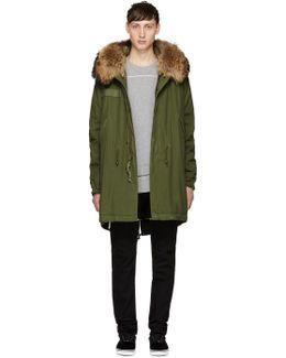 Green & Brown Fur Long Parka