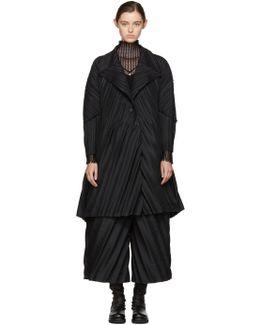 Black Slant Pleats Coat
