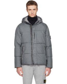 Grey Hooded Down Jacket