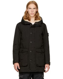 Black Down Shearling Hooded Jacket