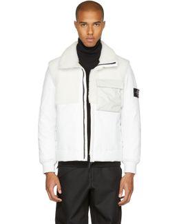 White Leather Shearling Hybrid Jacket