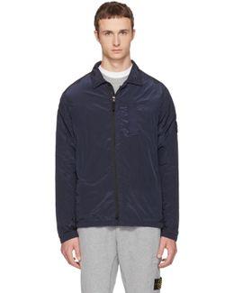 Navy Zip Windbreaker Jacket