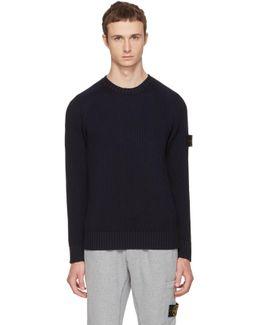 Navy Rib Knit Logo Sweater