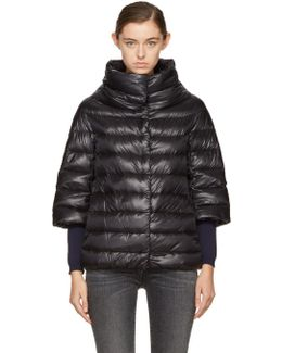 Black Down Three-quarter Cocoon Jacket