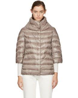 Beige Down Three-quarter Cocoon Jacket