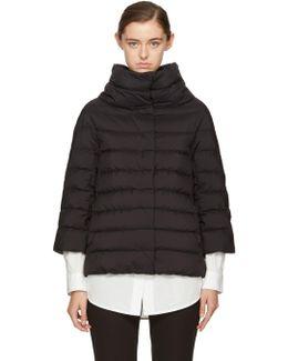 Black Matte Down Three-quarter Cocoon Jacket
