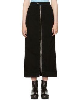Black Denim Zip Front Skirt